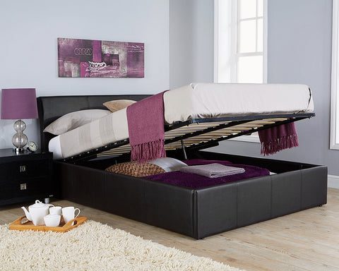 Double black leather ottoman bed