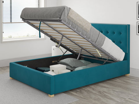 Better Seren Plush Teal Small Double Ottoman Bed