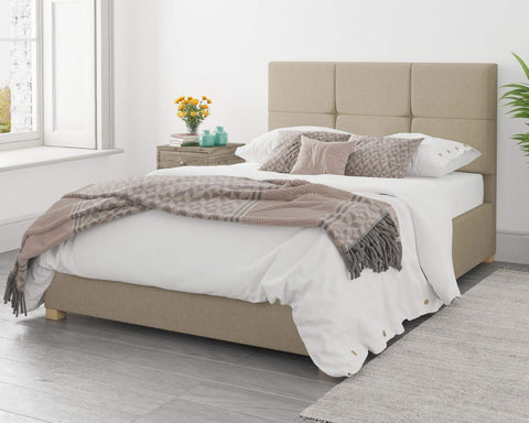 Natural Fabric Single Ottoman Bed