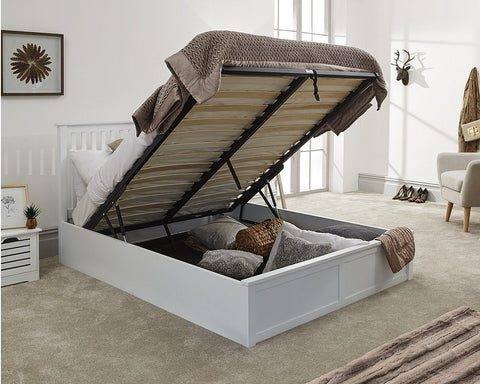 Small Double White Wooden Ottoman Bed Frame-Better Bed Company