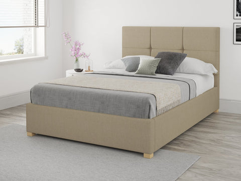 Beige Small Double Ottoman Bed