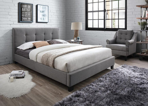 Grey Fabric Bed With A Mattress