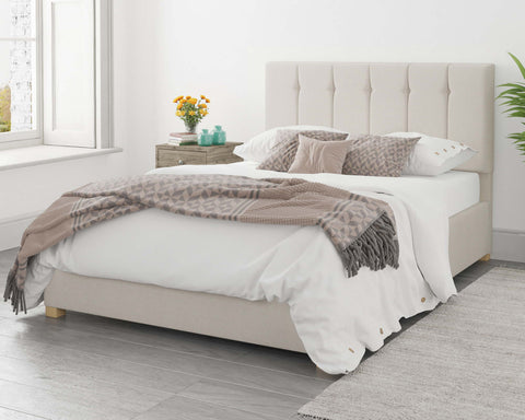Single White Fabric Ottoman Bed