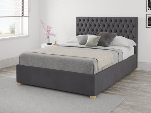 Grey small double ottoman bed
