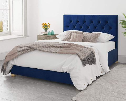 Navy Blue Fabric Single Ottoman Bed