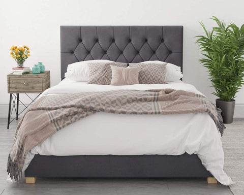 Single Ottoman Bed In A Grey Fabric-Better Bed Company