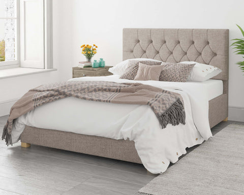 Light Beige Ottoman Bed