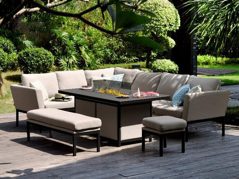 Maze Rattan Pulse Rectangular Corner Dining Set With Fire Pit-Better Bed Company