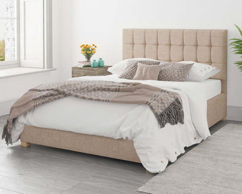 Small Double Ottoman Bed In Beige