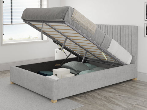 Fabric ottoman bed with  hybrid mattress