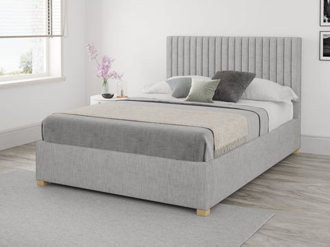 Single Grey Fabric Ottoman Bed