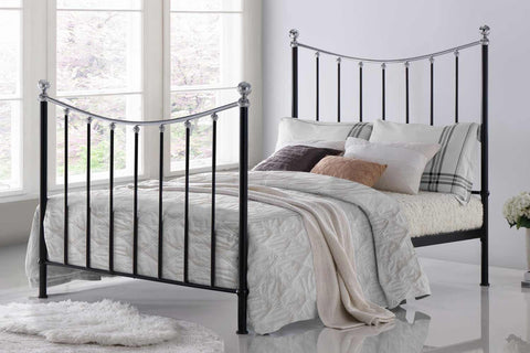 Time Living Vienna Black and Silver Metal Bed Frame-Better Bed Company