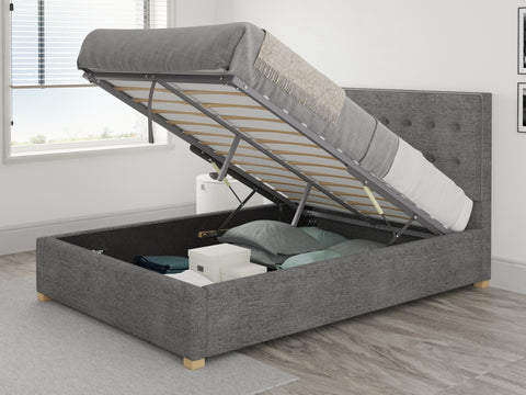 Dark Grey Small Double Ottoman Bed