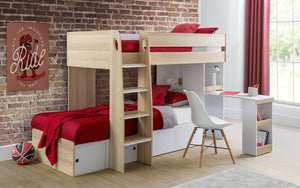 Julian Bowen Eclipse Bunk Bed Oak And White-Better Bed Company