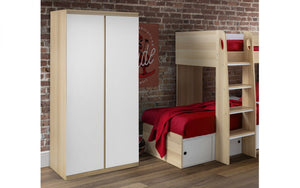 Julian Bowen Jupiter 2 Door Wardrobe White And Oak-Better Bed Company