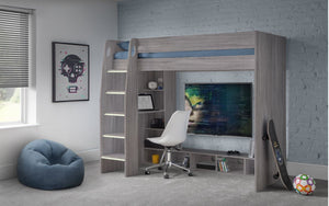 Julian Bowen Nebula Gaming Bed with Desk Grey Oak-Better Bed Company