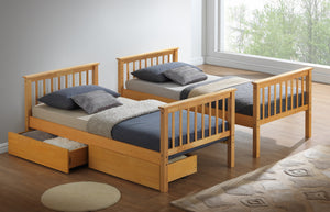 Artisan Bed Company New Bunk Bed In Beech Side By Side With Draws-Better Bed Company