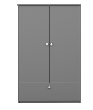 Steens 4 Kids 2 Door 1 Drawer Wardrobe Grey-Better Bed Company