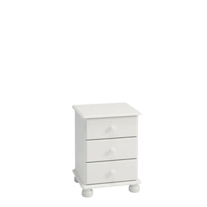 Steens Richmond 3 Draw White Bed Side Table-Better Bed Company