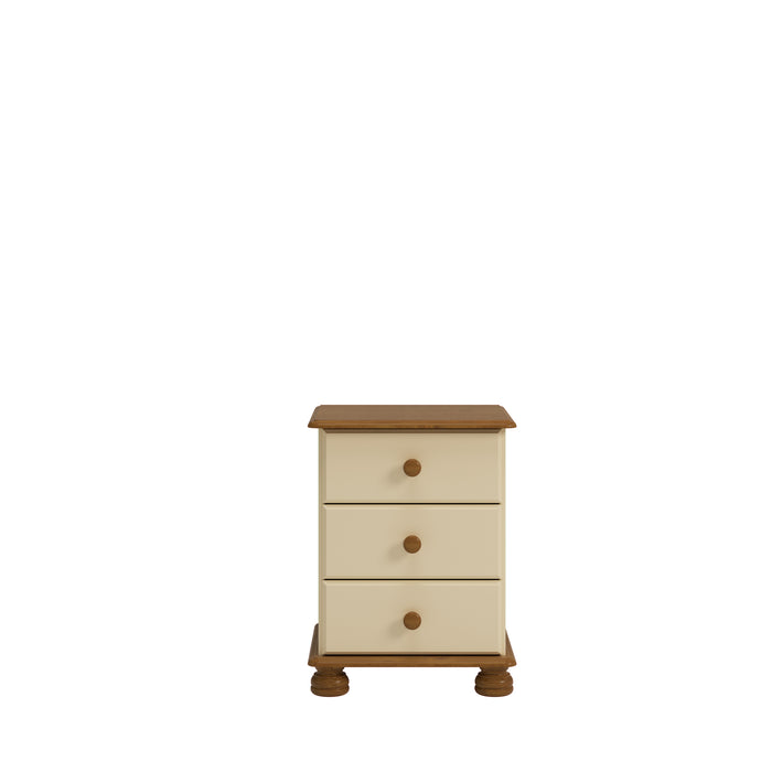 Steens Richmond Cream And Pine 3 Draw Bed Side Table