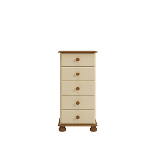 Steens Richmond Cream And Pine 5 Draw Narrow Chest Of Draws-Chest Of Drawers-Steens-Better Bed Company