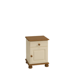 Steens Richmond Cream And Pine 1 Draw 1 Door Bed Side Table-Bed Side Tables-Steens-Better Bed Company