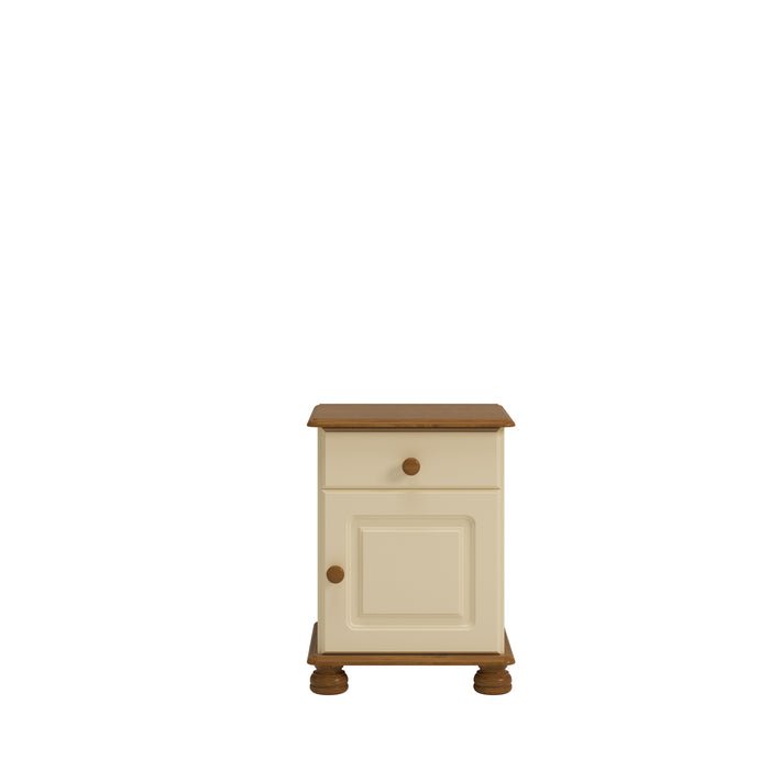 Steens Richmond Cream And Pine 1 Draw 1 Door Bed Side Table