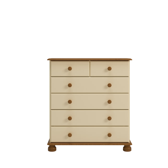 Steens Richmond Cream And Pine 2 + 4 Deep Chest Of Draws