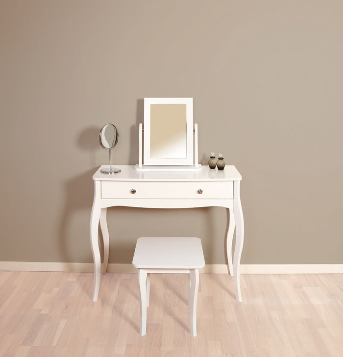Steens Baroque White Stool and Mirror