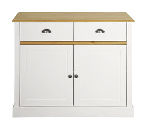 Steens Sandringham Living White And Pine 2 Door 2 Draw Sideboard-Better Bed Company