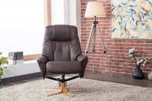 GFA Dubai Recliner And Foot Stool-Recliners-GFA-Brown Plush-Better Bed Company