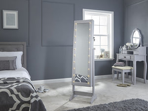 GFW Amore Jewellery Amoire With LED Grey-Better Bed Company