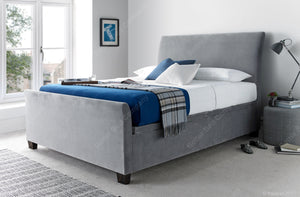 Kaydian Allendale Velvet Plume Fabric Storage Ottoman Bed Frame-Kaydian-4ft 6 Double-Better Bed Company