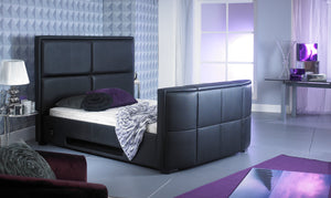 Artisan Bed Company Bonded Leather TV Bed-TV Beds-Artisan Bed Company-Double-Black-Better Bed Company
