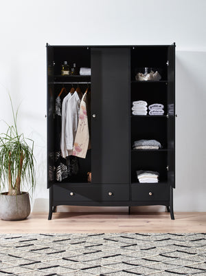 Steens Baroque Black 3 Door 2 Draw Wardrobe-Better Bed Company