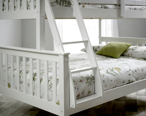 Bedmaster Carra Triple Sleeper White Ladder And Foot Board Close Up-Better Bed Company
