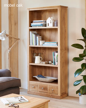 Baumhaus Mobel Oak Large 3 Drawer Bookcase-Better Bed Company