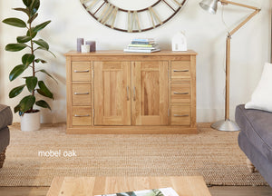 Baumhaus Mobel Oak Six Drawer Sideboard-Better Bed Company