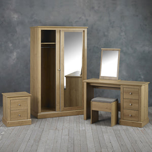 LPD Furniture Devon Oak 2 Door Sliding Mirror Wardrobe-Better Bed Company