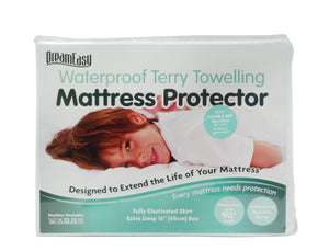 Dream Easy Waterproof Terry Toweling Mattress Protector-Mattress Protector-Dream Easy-Small Single-Better Bed Company