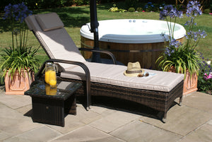 Maze Rattan Florida Sunlounger Set Brown-Better Bed Company