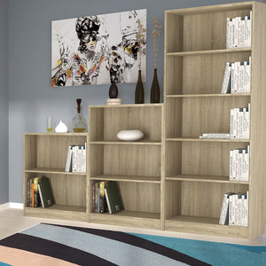 Furniture To Go 4 You Low wide Bookcase in Sonoma Oak With Other Book Cases In The Collection-Better Bed Company