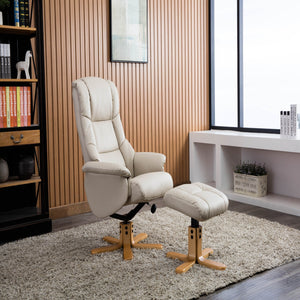 GFA Florence Recliner And Foot Stool In Cream-Better Bed Company