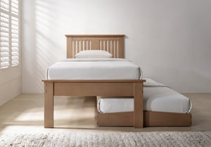 Flintshire Furniture Halkyn Guest Bed In Oak With Under Bed Pulled Out-Better Bed Company
