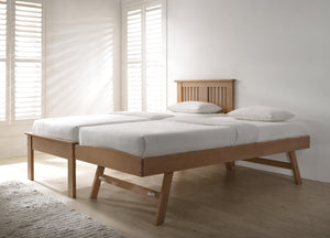 Flintshire Furniture Halkyn Guest Bed In Oak With Under Bed Stood Up Making A Big Bed-Better Bed Company