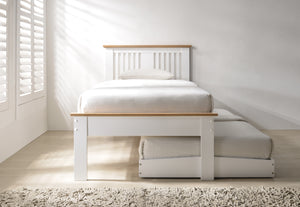 Flintshire Furniture Halkyn Guest Bed In Two Tone White And Oak With Under Bed Pulled Out-Better Bed Company