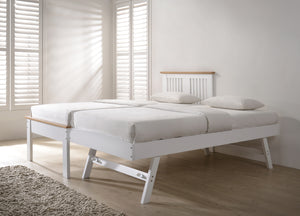 Flintshire Furniture Halkyn Guest Bed In White With Under Bed Stood Up Making A Big Bed-Better Bed Company