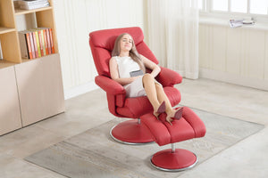 GFA Biarritz Recliner And Foot Stool-Recliners-GFA-Cherry Plush-Better Bed Company
