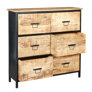 Indian Hub Cosmo Industrial 6 Drawer Chest-Better Bed Company