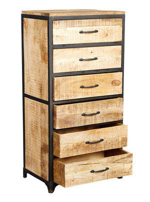 Indian Hub Cosmo Industrial Tall Chest Draws Open-Better Bed Company
